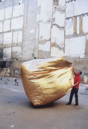Basic House // Martin Ruiz de Azua // Homeless shelters are often interpreted as nomadic structures and are therefore designed to be foldable, transportable, and easy to install. Azúa's Basic House, made of extra-light material, folds like a handkerchief and when deployed uses hot air from grilles in city sidewalks to remain inflated and heated.