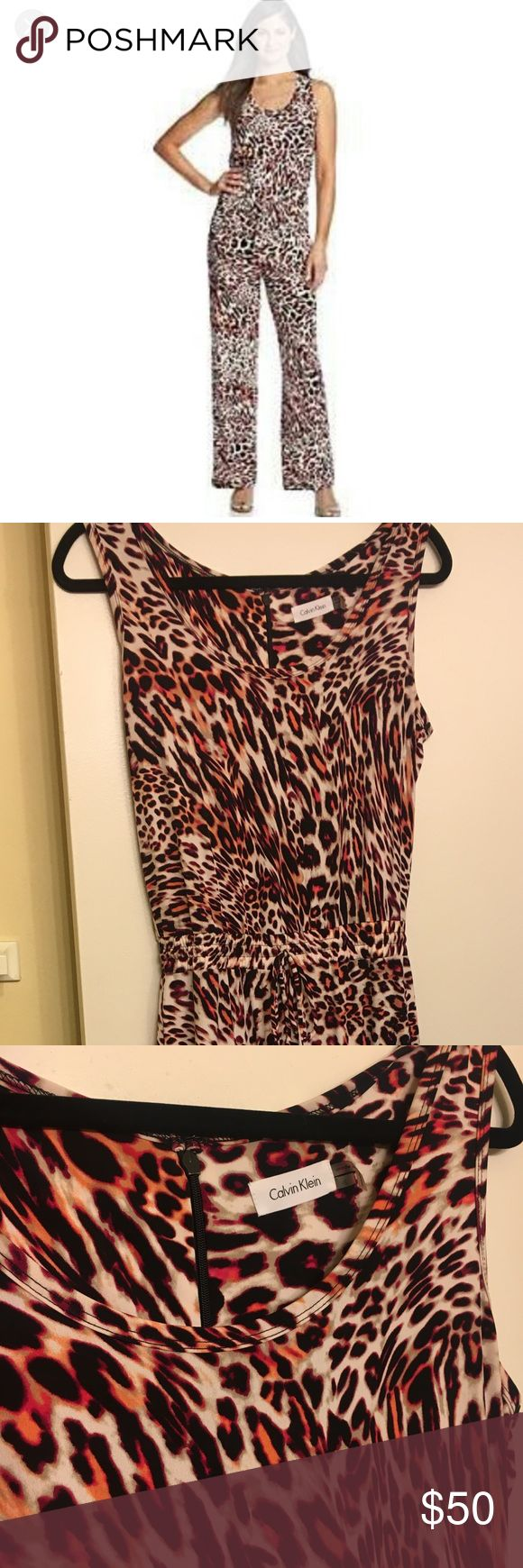 Gorgeous Calvin Klein animal print jumpsuit Gorgeous Calvin Klein animal print jumpsuit size 4. New , excellent condition Calvin Klein Pants Jumpsuits & Rompers
