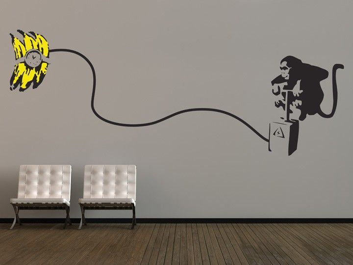 large banksy monkey bomb wall stickers this large wall sticker design is inspired by infamous uk graffiti artist banksy and is perfect to create a focal