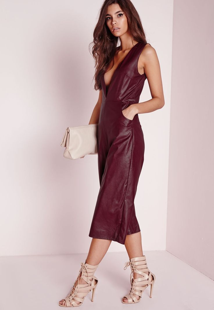 sale sneakers com fake Missguided   Faux Leather Deep V Culotte Jumpsuit