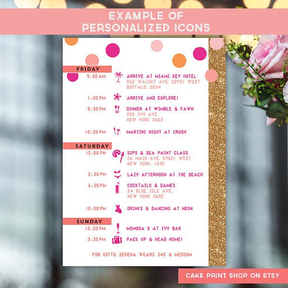 Bachelorette Invite With Itinerary Weekend 2 Sided Gold Glitter Wine Tasting Printable