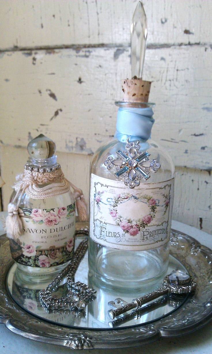 Rhinestone And Prism Embellished Repurposed French Apothecary Bottle. $16.00, via Etsy.