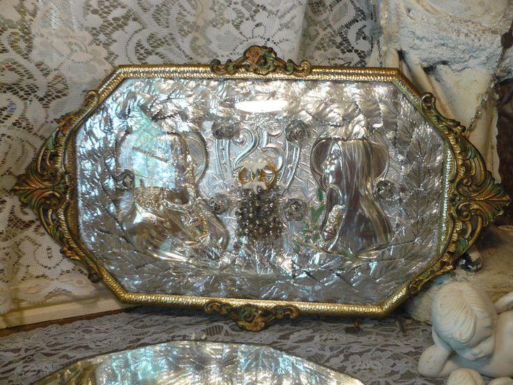 STUNNING silver vtg Christian framed wall art convex glass 25th wedding anniv