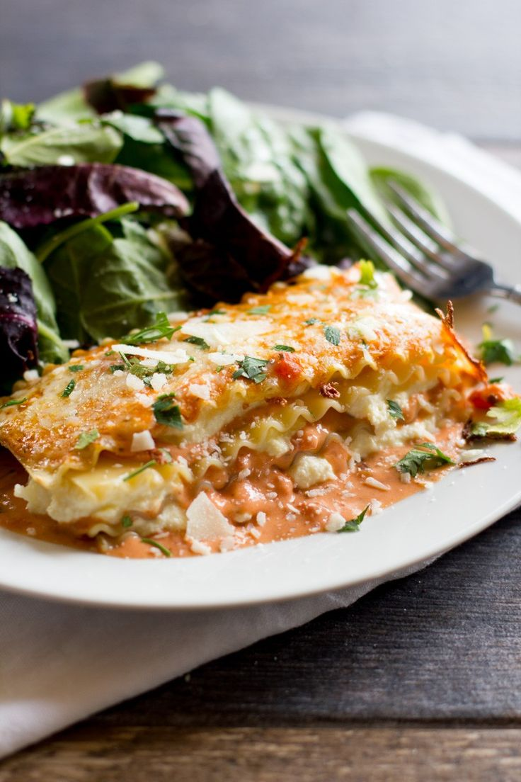 This meatless Lasagna Rosa has a creamy tomato sauce that really sets it apart from your usual lasagna.