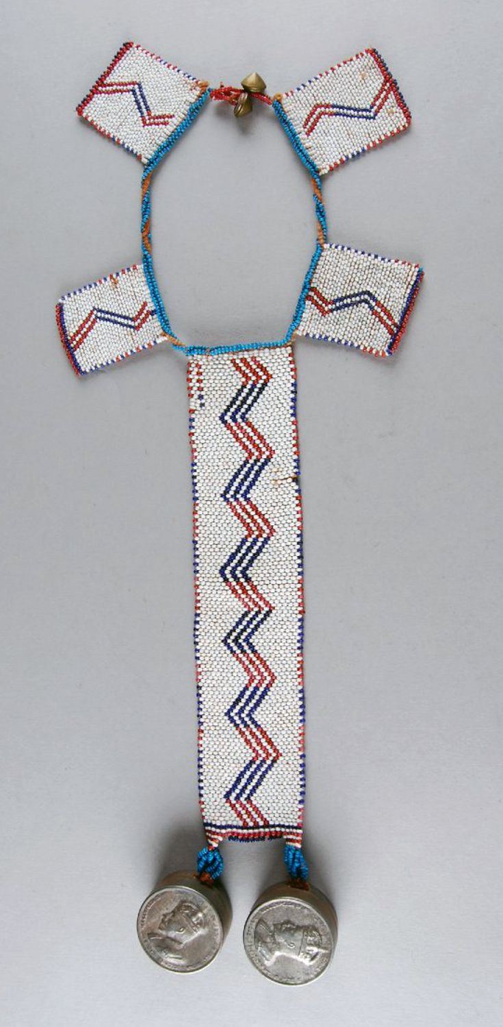 South Africa   Personal ornament; glass beads, fiber, tin box (English)   ca. 1933 or earlier   Possibly made by the Xhosa (Tsolo, Eastern Cape) or (Griqualand East, KwaZulu Natal) people