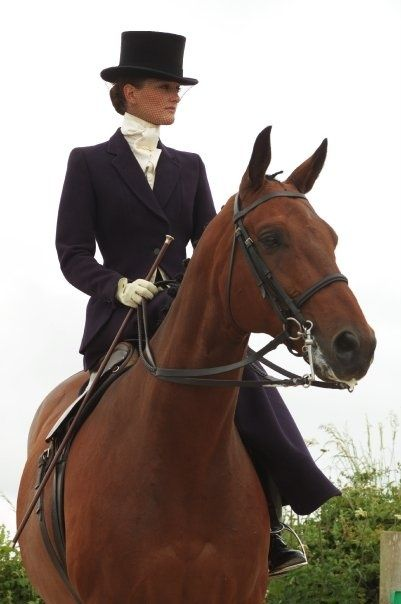 Side saddle. Pure elegance. Learning to ride sidesaddle in a classic habit is near the top of my bucket list!