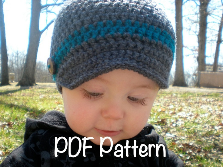 Crochet Baby Hat Pattern Newsboy : PATTERN: Wiseguy Hat- Easy Crochet, Newborn to Adult ...