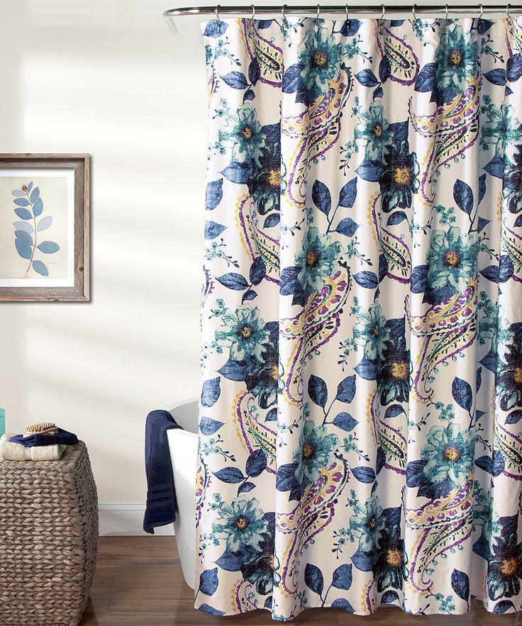 Blue Floral Paisley Shower Curtain