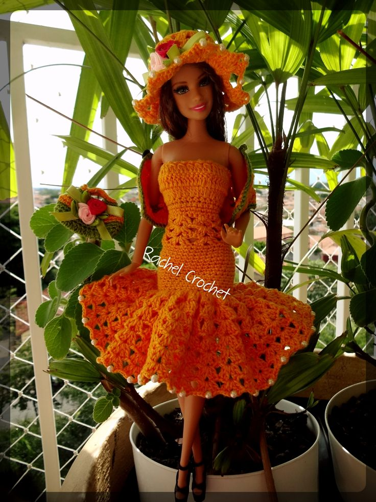 #Doll #Crochet #Vestido #Dress #Barbie #Muñeca #Chapéu #Hat #RaquelGaucha