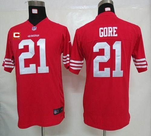 ... jersey 24288 9cacc  clearance nike 49ers 21 frank gore red team color  with c patch youth embroidered nfl elite c4a4aeeaf