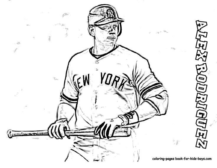 coloring page of baseball player alex rodriguez