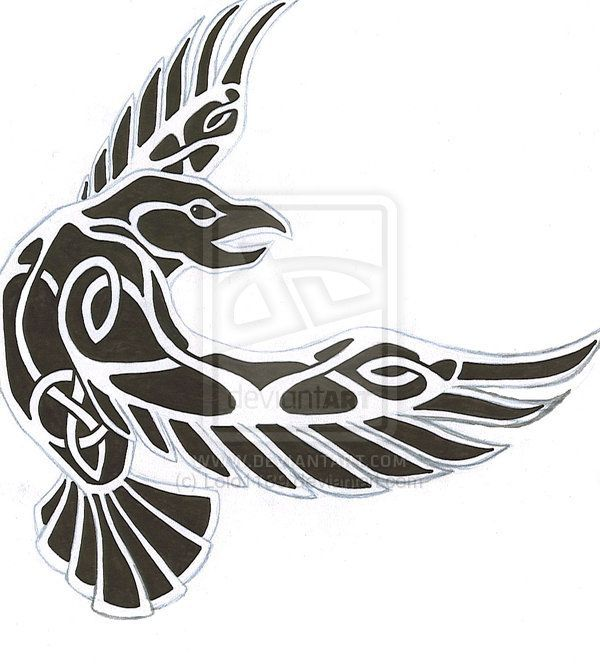 Tribal Norse Raven Tattoo Design Idea