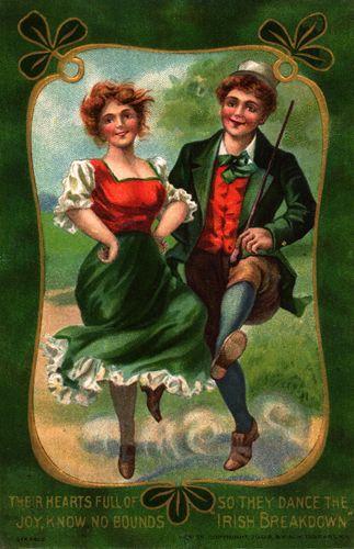 Irish Dance Vintage Postcard. A couple doing a happy Irish Jig on St. Patrick's Day!