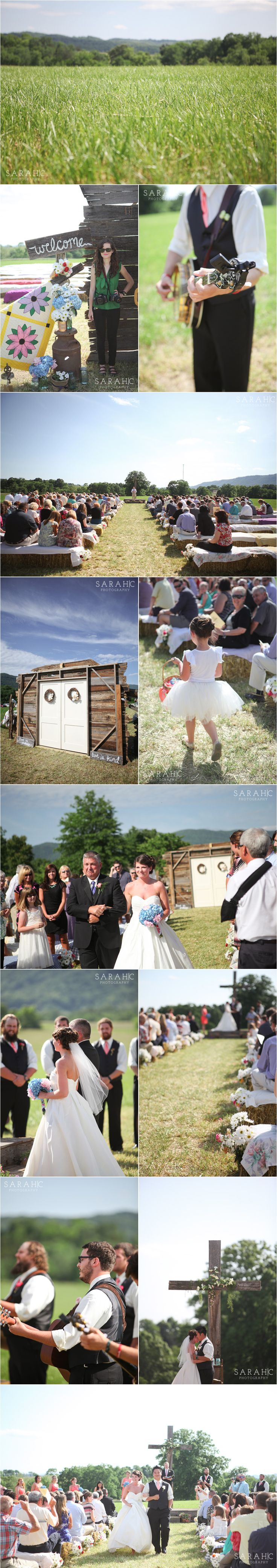 Tennessee Wedding | Ceremony in a Field | Hay Bales | Barn Wood | Voted Knoxville's Best Wedding Photographer | Sarah C. Photography