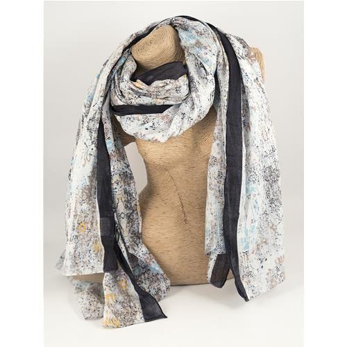 SCIARPA PAREO RANCIE -  Graziosa sciarpa pareo con stampa sfumata nei colori dell'azzurro e del bianco. Composizione: 100% cotone.