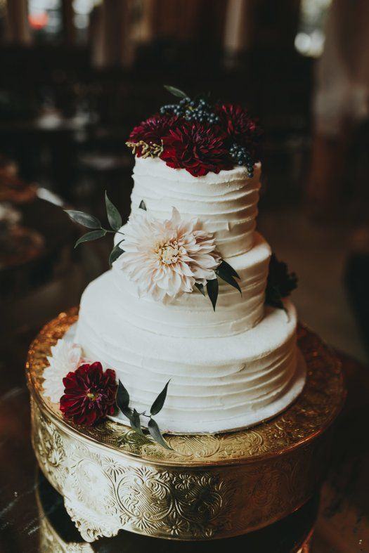 Three-Tier White Wedding Cake With Blush + Burgundy Flowers | Allenbrooke Farms