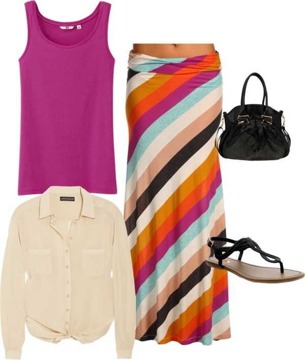 """multi color stripe skirt outfit"" by danica0113 ❤ liked on Polyvore"