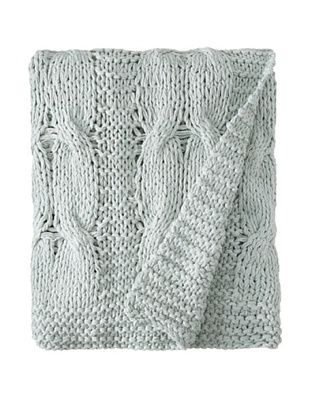 Amity Cable Knit Throw (Aqua)