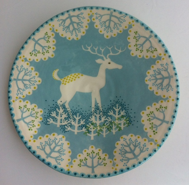 Hand Painted Ceramic Christmas Plates
