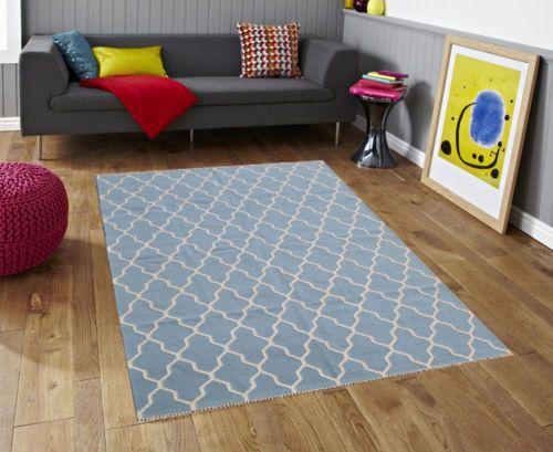 Chevron NEW Large Blue 110 X 160cm Floor RUG Carpet 100 Wool Handmade RUG Sale | eBay