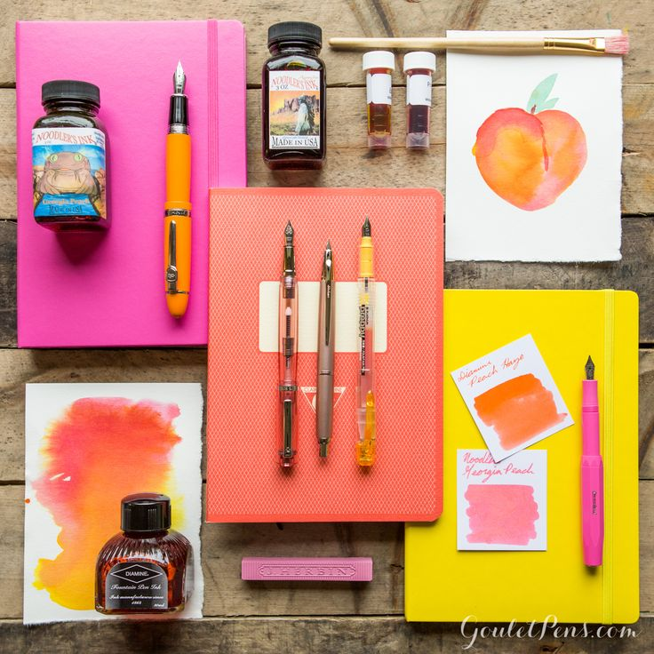 Fountain pens are delicious! Love this arrangement of Peachy Keen products from Goulet pens! Want it all. :)