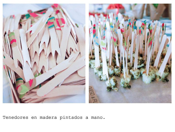 Wooden color forks for catering. Hand painted.