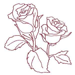Redwork Roses embroidery design Patterns Art