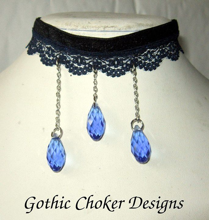 Black velvet and blue lace choker with blue glass crystals hanging from chains.  R120