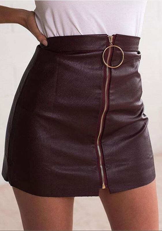 Ring Decorate Front Zipper Black Short PU Skirt