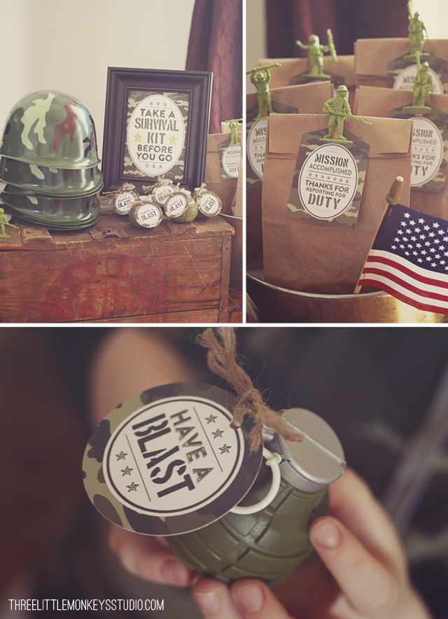 Camo Party by Three Little Monkeys Studio #camoparty #armyparty #DIY