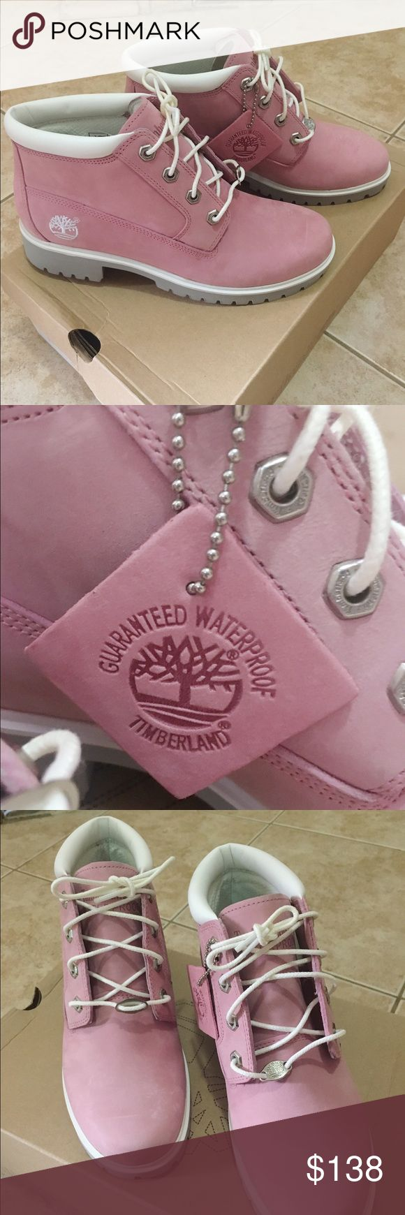 Timberland Nellie Pink SIze7.5 ( New With Box) Timberland's comfy, colorful, customer-favorite Nellie boots are the perfect blend of rugged and feminine.                                            Ready to be styled with everything from skirts to ripped jeans, we wear these waterproof boots year-round. Premium full-grain waterproof leather uppersDirect-attach, seam-sealed waterproof constructionExclusive anti-fatigue midsole and removable footbedsBreathable mesh linings and footbed…