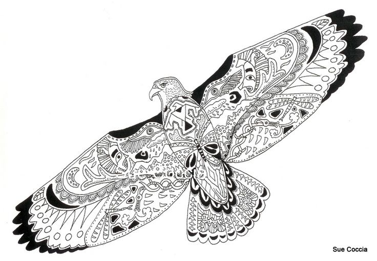 Coloring Pages Zentangle Animals : Zentangle animals hawk doddle