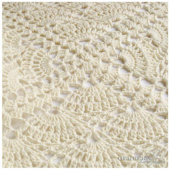 Crochet Pattern Baby Blanket, Tutorial Crochet PDF Creame Baby Afghan Ebook - free shipping