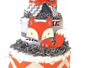 Fox Diaper Cake in Mint Grey and White Woodland by AllDiaperCakes