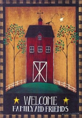 """Welcome Barn Primitive Garden Flag is 12""""x18"""" by CD. This decorative primitive outdoor mini is great for the country home."""