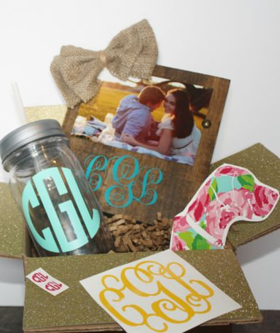 Monogram Monthly Subscription box full of monogrammed and personalized gifts. This is the perfect gift for almost every girl I know!