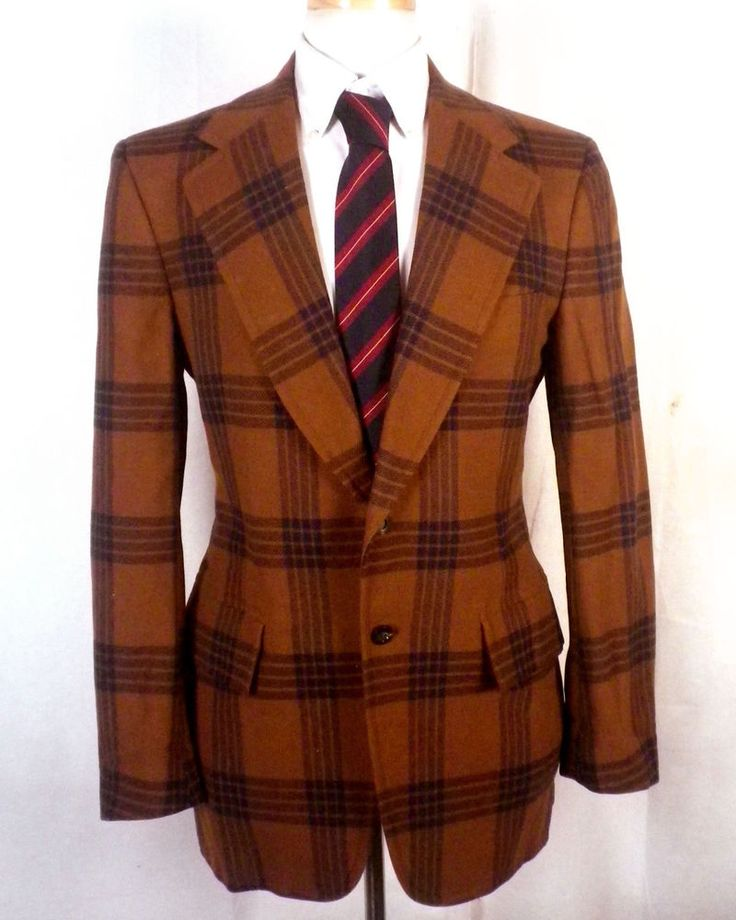 vtg 60s Elkridge brown plaid 100% Wool Canvassed Blazer Sportcoat 38 R