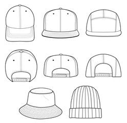 483da2be61c Hat beanie design 2018 illustration flat sketches template ...