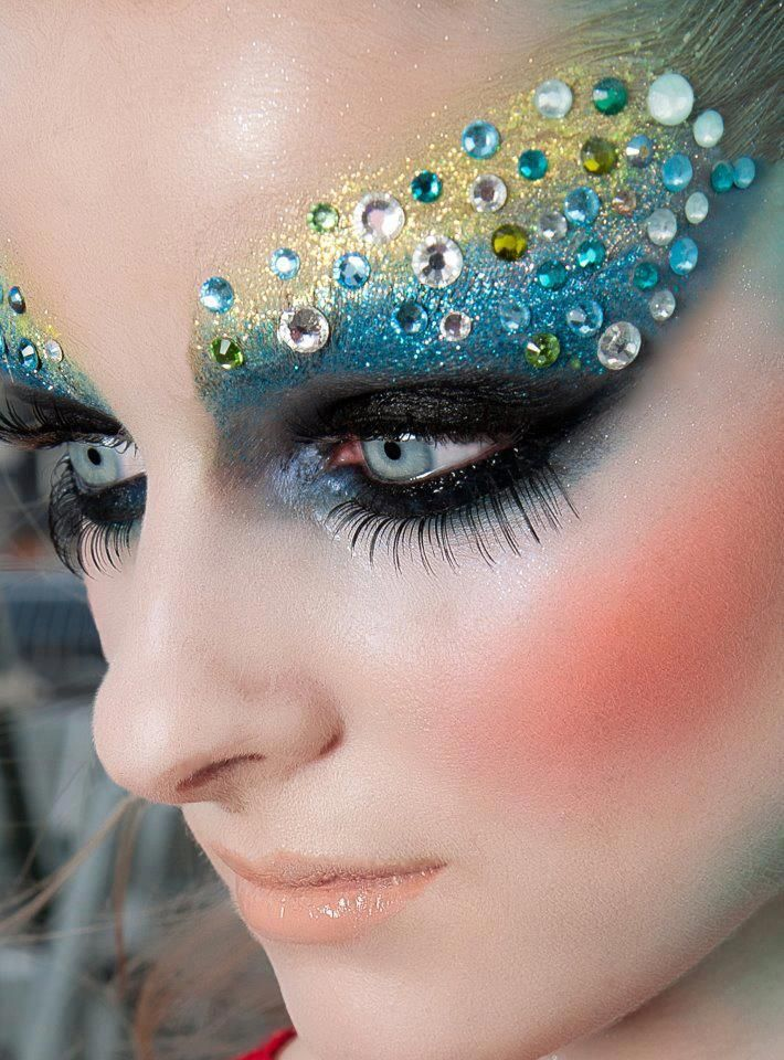 Mermaid Glam... gorgeous iridescent green and blue shimmer shadow with crystals accents galore and awesome lashes!