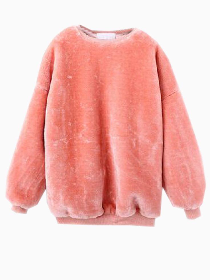 Peach Pink Unreal Fur Sweatshirt