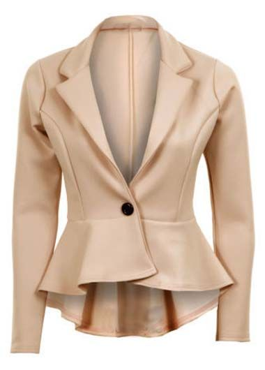 Pleated High Low Hem Beige One Button Suits