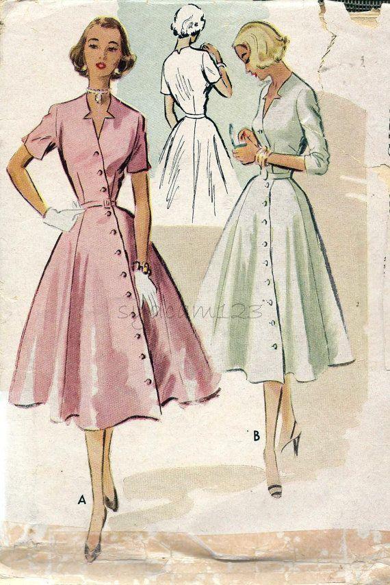 McCalls 8898 © 1952  Vintage 1950s Diagonal Button Front Dress Star Cutout Neckline
