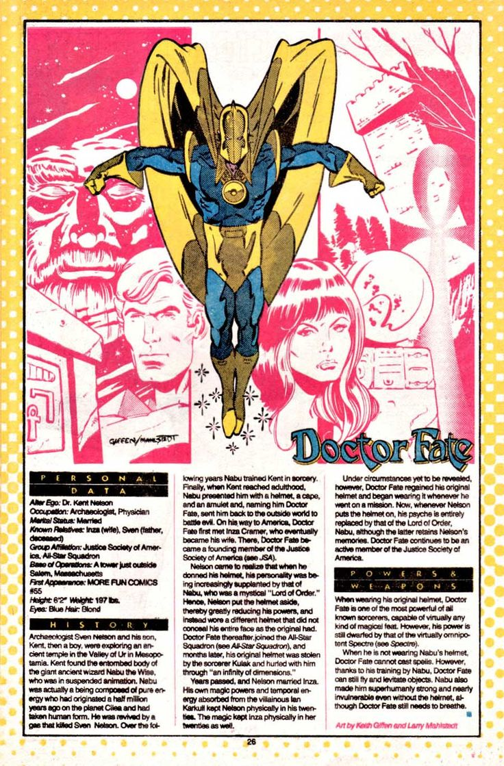 Doctor Fate by Keith Giffen and Larry Mahlstedt for Who's Who podcast