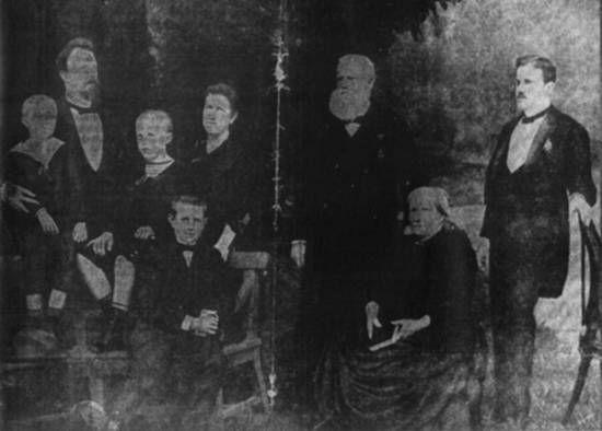 D. Pedro II e d. Thereza Christina, na Quinta da Boa Vista, em companhia da princesa Isabel, sua filha; do Conde D'Eu, seu genro; do príncipe D. Pedro Augusto de Saxe Coburgo, filho da princesa Leopoldina e dos príncipes D. Pedro, D. Luiz e D. Antônio, seus netos