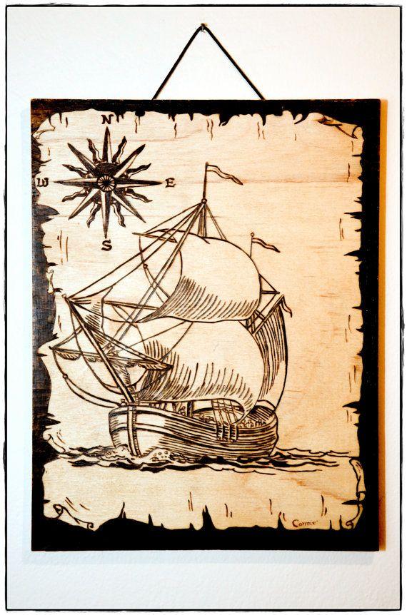 Sailing Ship  Compass  Papyrus  Sea  Sun  Nautical  by Antartista