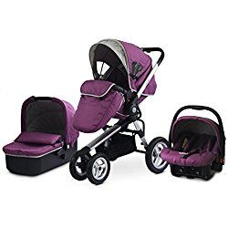 Aluminum Frame Baby Stroller 3 in 1,Pushchair+Sleeping Basket+Car Seat,Use 4 Pneumatic Wheels. (Purple)