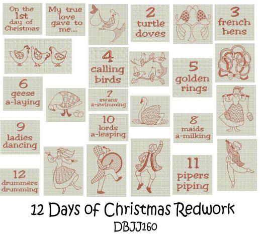 Embroidery Designs | Free Machine Embroidery Designs | JuJu Twelve Days Christmas Redwork