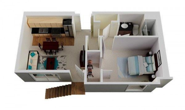 plan appartement avec une petite cuisine open space
