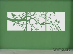 Силуэт дерева .Наклейка для стен, трафарет для декора или виниловый стикер