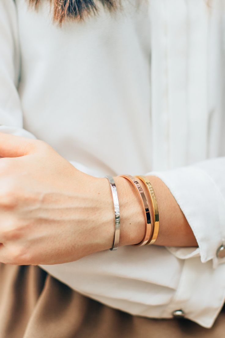 Minimalist cuffs, engraved with meaningful messages | The Mindful Company